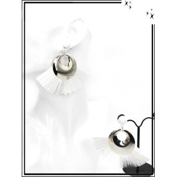 Boucles d'oreilles - Rafia - Argent / Blanc