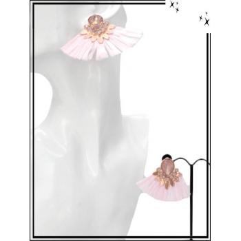 Boucles d'oreilles - Petit rafia - Rose poudré