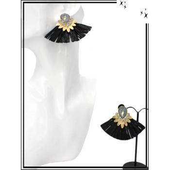 Boucles d'oreilles - Petit rafia - Noir