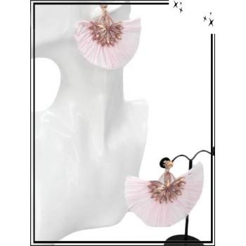 Boucles d'oreilles - Fleur bijoux - Rafia - Rose poudré