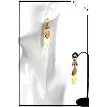 Boucles d'oreilles - Plume et feuille - Doré / Beige