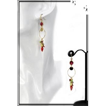 Boucles d'oreilles - Cercle fin - Perles - Multicolor
