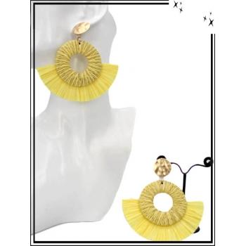 Boucles d'oreilles - Pompon - Demi lune - Rafia - Jaune