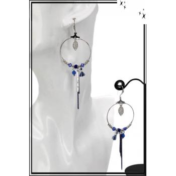 Boucles d'oreilles - Cercle fin - Perles - Chaînette - Pompon - Bleu