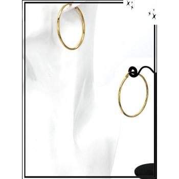 Boucles d'oreilles - Créole fermée - 4 cm - Doré