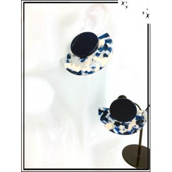 Boucles d'oreilles - Résine - Demi lune - Nuancé - Beige / Bleu