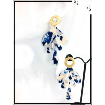 Boucles d'oreilles - Résine - Feuille - Nuancé - Beige / Bleu