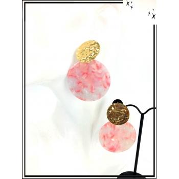 Boucles d'oreilles - Résine - Piecette dorée - Gris / Rose