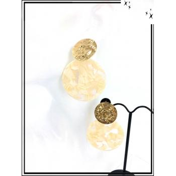 Boucles d'oreilles - Résine - Piecette dorée - Beige