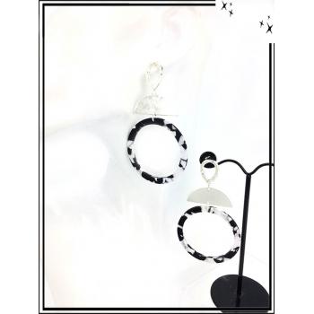 Boucles d'oreilles - Résine - Demi lune argent - Nuancé - Noir / Blanc