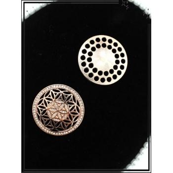 Broche magnétique - Rosaces - Strass - Cuivré