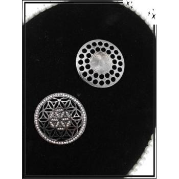 Broche magnétique - Rosaces - Strass - Argent foncé