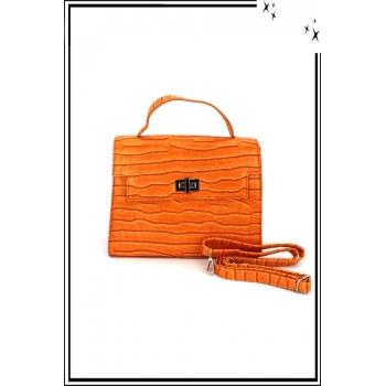 Sac à main - Aspect croco - Rabat - Orange