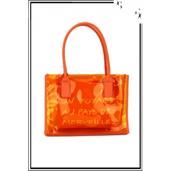 Sac à main - Transparent - Message - Orange
