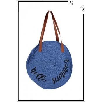Sac à main - Rafia - Tressé - Rond - Hello Summer - Bleu
