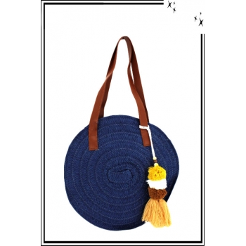 Sac à main - Rafia - Rond - Tressé - Pompons - Bleu