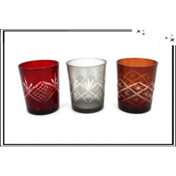 3 Verres gravés - Rouge / Transparent