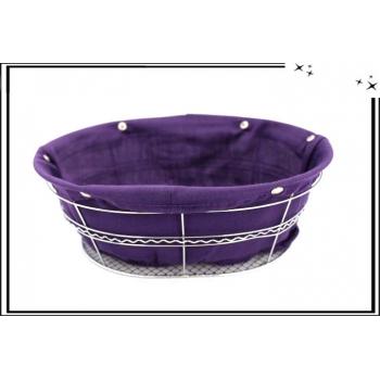 Panière ovale en métal avec sa base en tissu - Violet