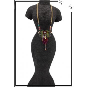 Collier - Plaque - Plumes - Pampilles - Perles - Multicolore