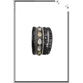 Bracelet manchette - Stella Green - 6 rangs - Feuilles nacrées - Perles, strass et clous - Gris