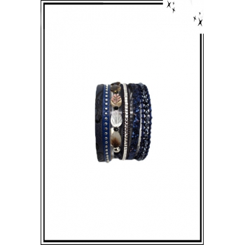 Bracelet manchette - Stella Green - 6 rangs - Feuilles nacrées - Perles, strass et clous - Bleu marine