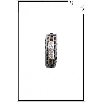 Bracelet manchette - Stella Green - 3 rangs - Strass et détails léopard - Gris