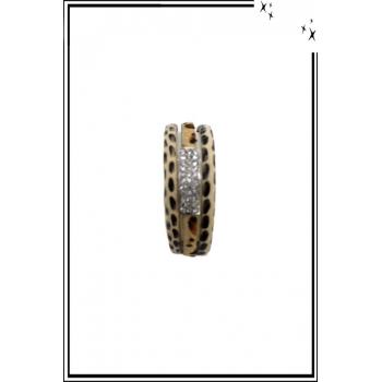 Bracelet manchette - Stella Green - 3 rangs - Strass et détails léopard - Beige