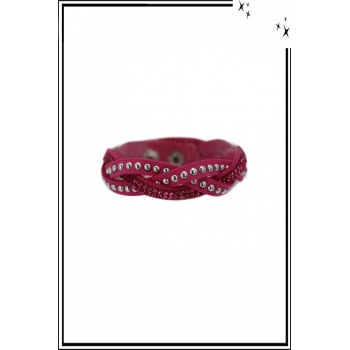 Bracelet - 3 rangs tressés - Clous et strass - Fushia