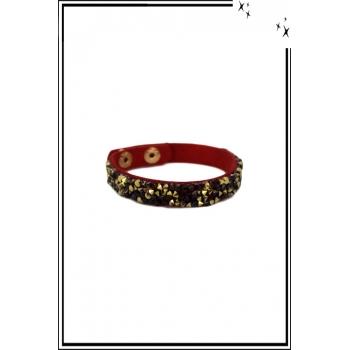 Bracelet - Pierres et strass - Rouge / Doré