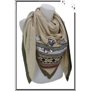 Foulard carré - Etoiles et strass - Beige