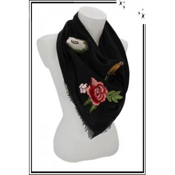Foulard carré - Bohème - Patchs brodés - Noir