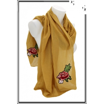 Foulard - Roses  brodées - Patchs - Moutarde