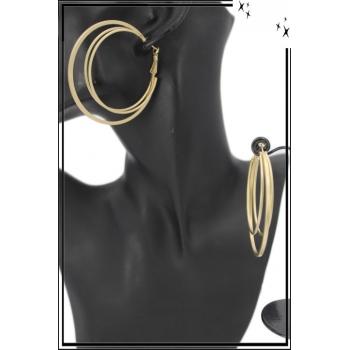 Boucle d'oreille - Créole - 3 anneaux - Doré