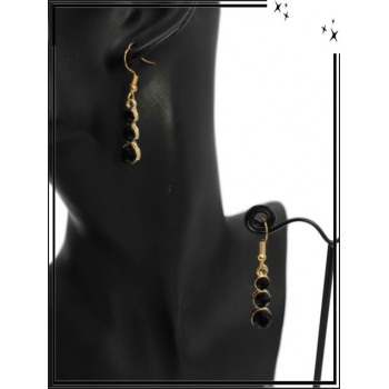 Boucle d'oreille - 3 perles alignées - Noir
