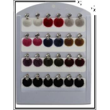 Boucle d'oreille - Pompon - Multicolore