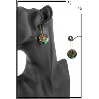 Boucle d'oreille en résine - Soleil - Camaieu bleu et vert