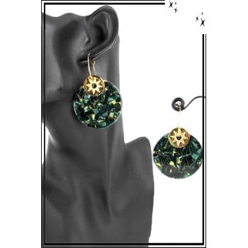 Boucle d'oreille en résine - Forme ronde et soleil - Camaieu vert