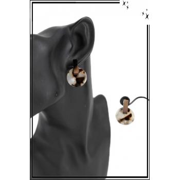 Boucle d'oreille en résine - Petit cercle - Camaieu marron