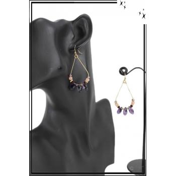 Boucle d'oreille - Inspiration Aztèque - Perles et pierres