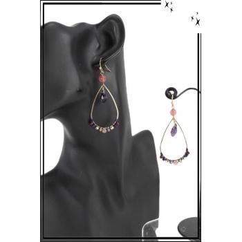Boucle d'oreille allongée - Perles et pierre