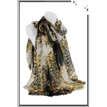 Foulard - Motifs baroques et tâches léopard - Noir
