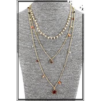 Collier multirang - 3 rangs - Perles et étoile