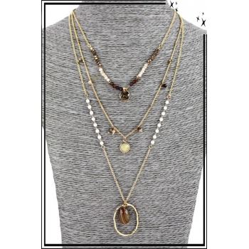 Collier multirang - 3 rangs - Pierres, perles et anneau