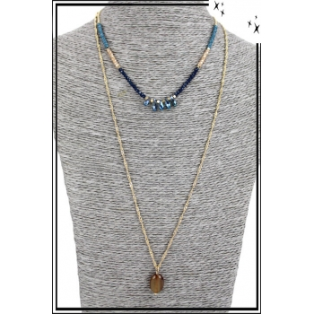 Collier multirang - 2 rangs - Perles, pierre et petites pierres irisées