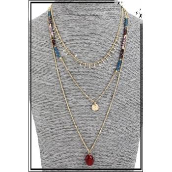 Collier multirang - 3 rangs - Petites franges, perles et pierre rouge