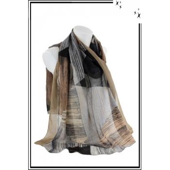 Foulard - Motif triangles et rayures - Bordure taupe
