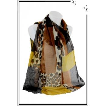 Foulard - Patchwork léopard - Moutarde