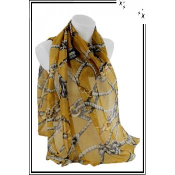 Foulard - Imprimé cordes et chaînes - Moutarde