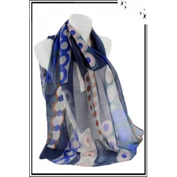 Foulard - Motif cercles et pois colorés - Bleu marine