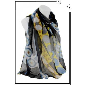 Foulard - Motif cercles et pois colorés - Noir